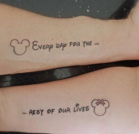 Mickey Minnie Marriage Couple Tattoo