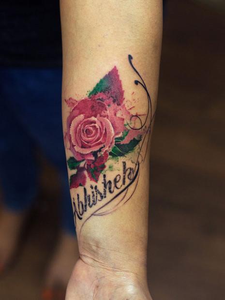 Rose Name Love Tattoo