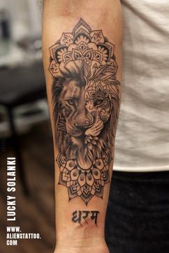Lion-Geometric-Dharam-Tattoo-by-lucky-solanki-aliens-tattoo