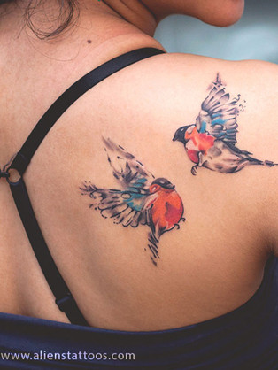 Beautiful Water Color Birds Couple Tattoo