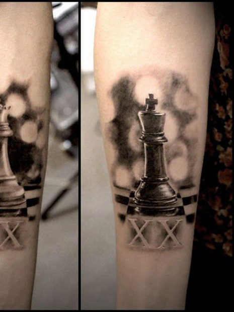 Chess King Queen Couple Tattoo