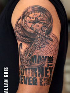 Compass Anchor Tattoo by Allan Gois | Aliens Tattoo