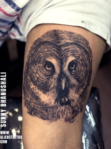 Realistic Owl Tattoo by Sunny Bhanushali | Aliens Tattoo
