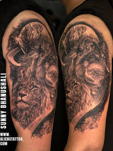 Lion Wolf Tattoo by Sunny Bhanushali | Aliens Tattoo