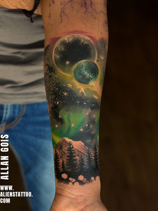Galaxy Colour Tattoo by Allan Gois | Aliens Tattoo
