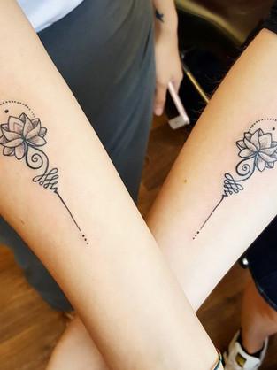 Unalome Couple Tattoo