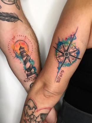 lighthouse-compass-couple-tattoo