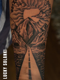 Travel Mountain Dotwork Tattoo by Lucky Salonki | Aliens Tattoo