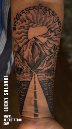 traveller-mountain-dotwork-tattoo-by-lucky-solanki-aliens-tattoo