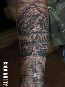 Travel Mountain Tattoo Road | Aliens Tattoo