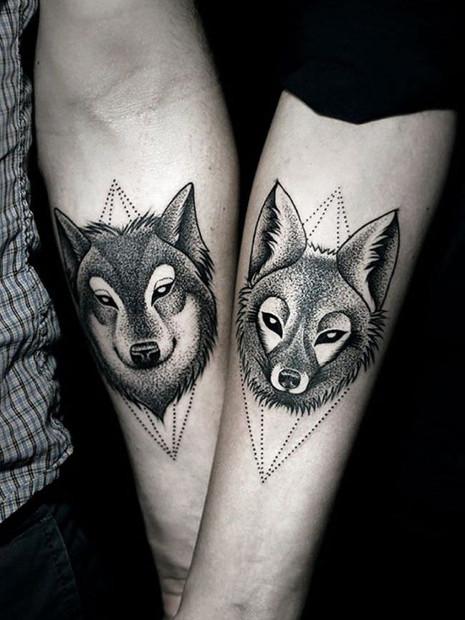 Wovles Couple Tattoo