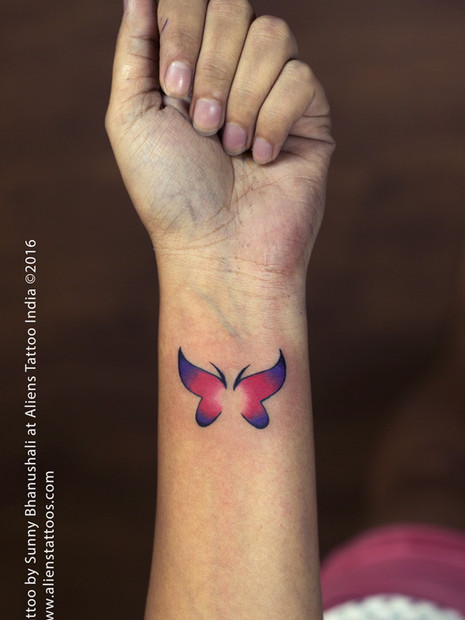 Watercolour Butterfly Couple Tattoo
