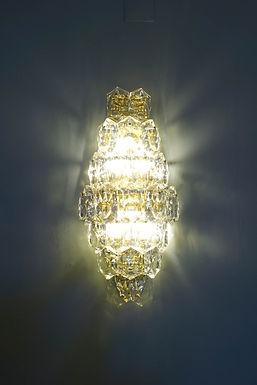 Huge Brass Sconce with 23 crystal glasses by Kinkeldey