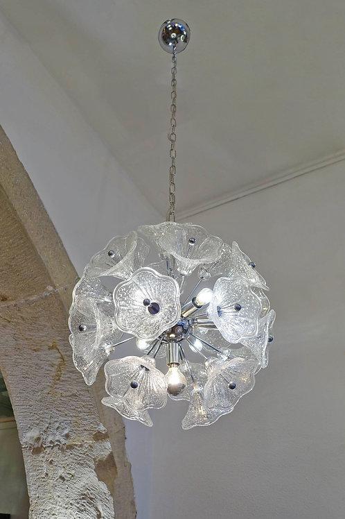 Paolo Venini Glass Flower Chromed Sputnik Chandelier for VeArt. 7 bulbs, 1960s