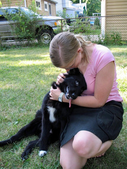Border Collie mix with her Mom