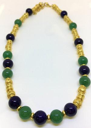 Collar de precolombinos.Collar  Precolombino  en  jade y  lapislázuli enchape en