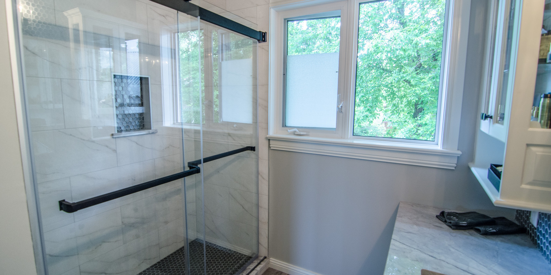 Custom Shower with Sliding Glass Door