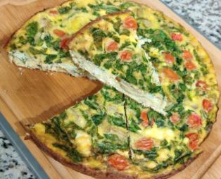 Spinach, Tomato, and Artichoke Frittata
