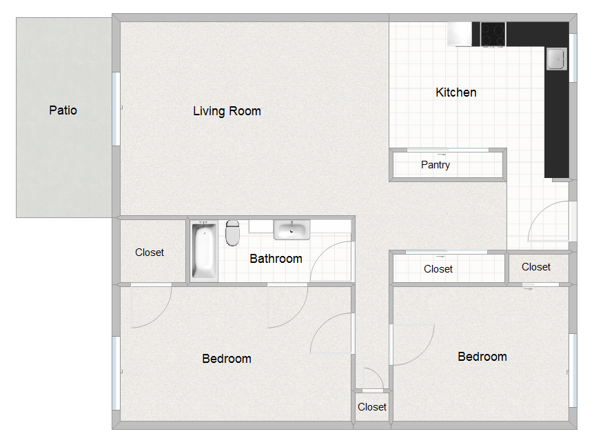 2 Bedroom 1 Bathroom floorplan
