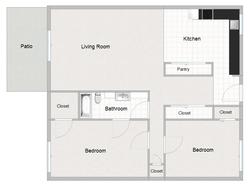 2 Bedroom 1 Bathroom Floor Plan