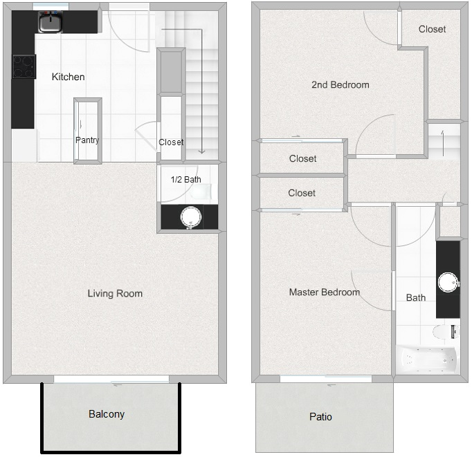 2 Bedroom 1.5 Bathroom floorplan