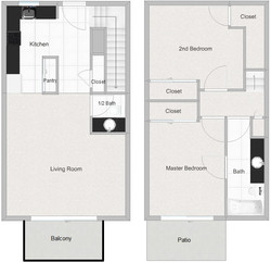 2 Bedroom 1.5 Bathroom Floor Plan