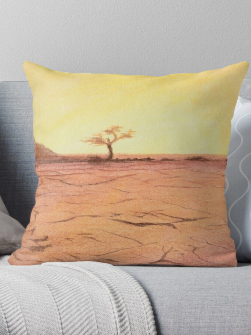 Golden Desert Tree Watercolor