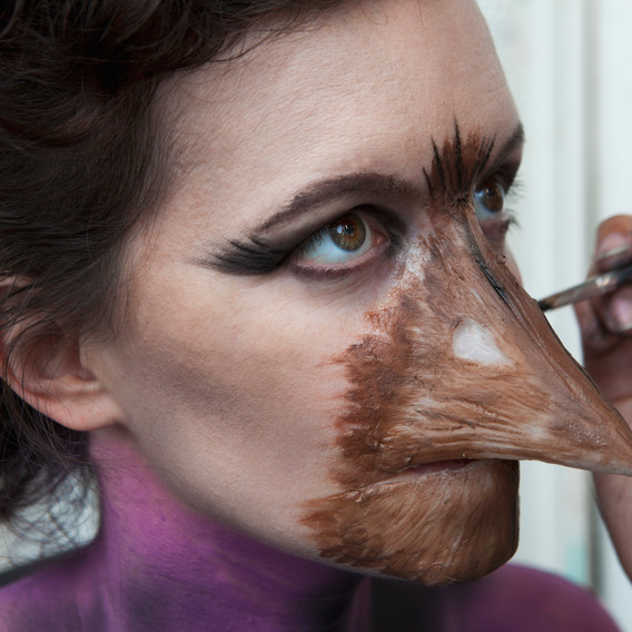 Edgar Allen Poe's The Raven inspired body paint and silicone prosthetic.
