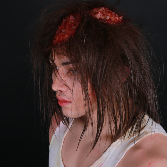 The Devil's Mirror inspired hand-knotted wig with silicone prosthetics.
