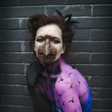 Edgar Allen Poe's The Raven inspired body paint.