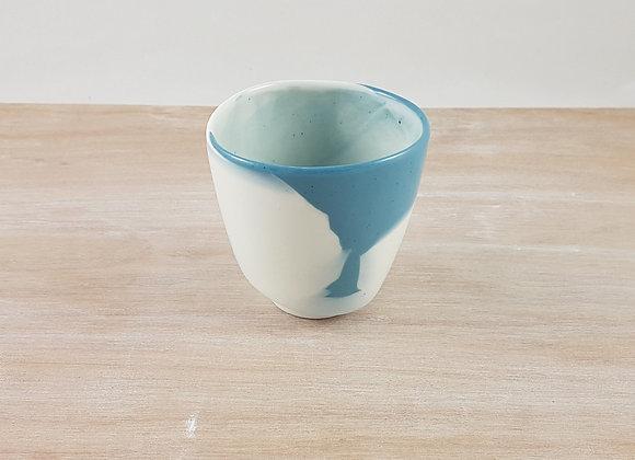 """Tasse à café """"allongé"""" en porcelaine, coloris bleu"""