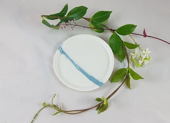 Sous-tasse/petite assiette en porcelaine, blanche et bleue