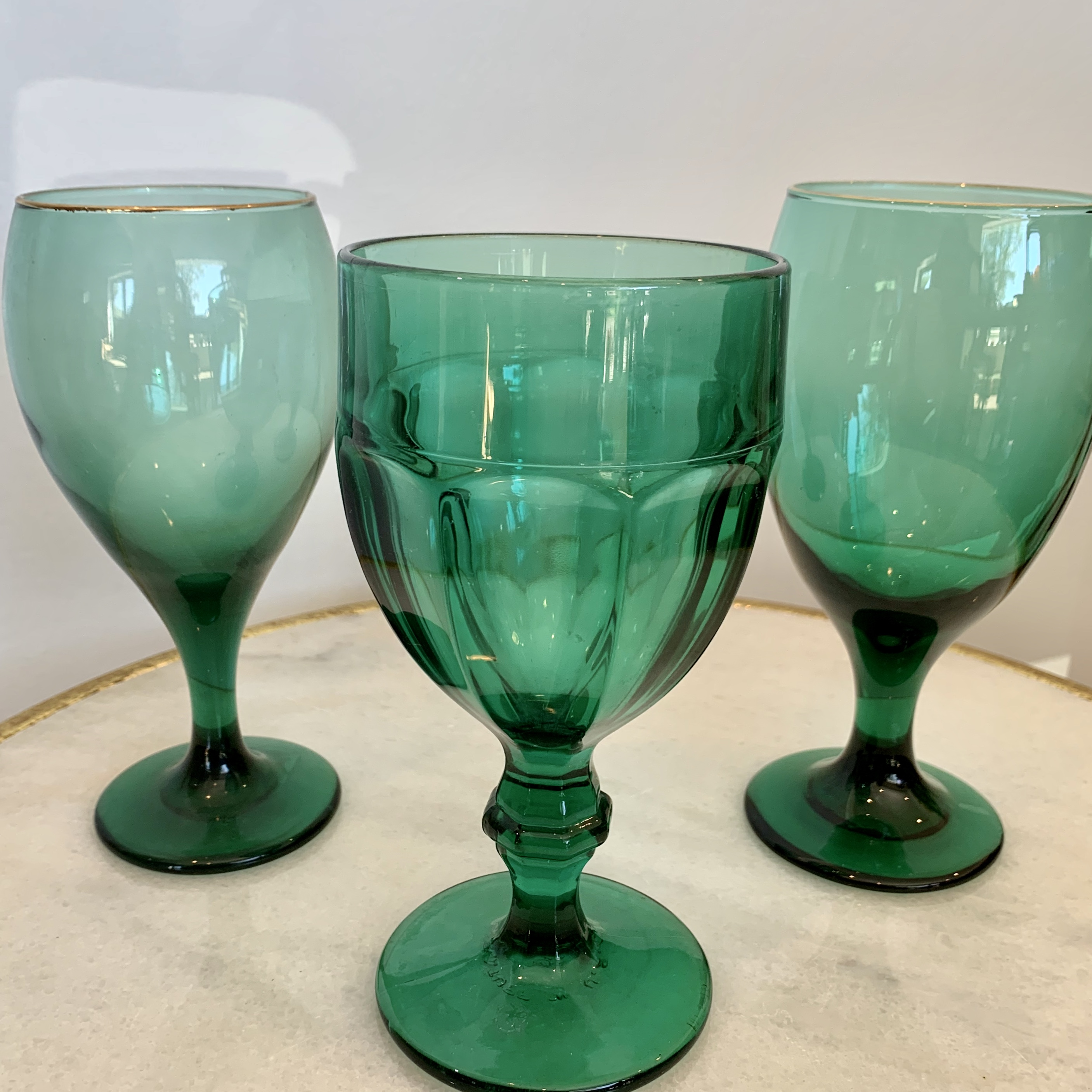 Assorted Emerald Glasses