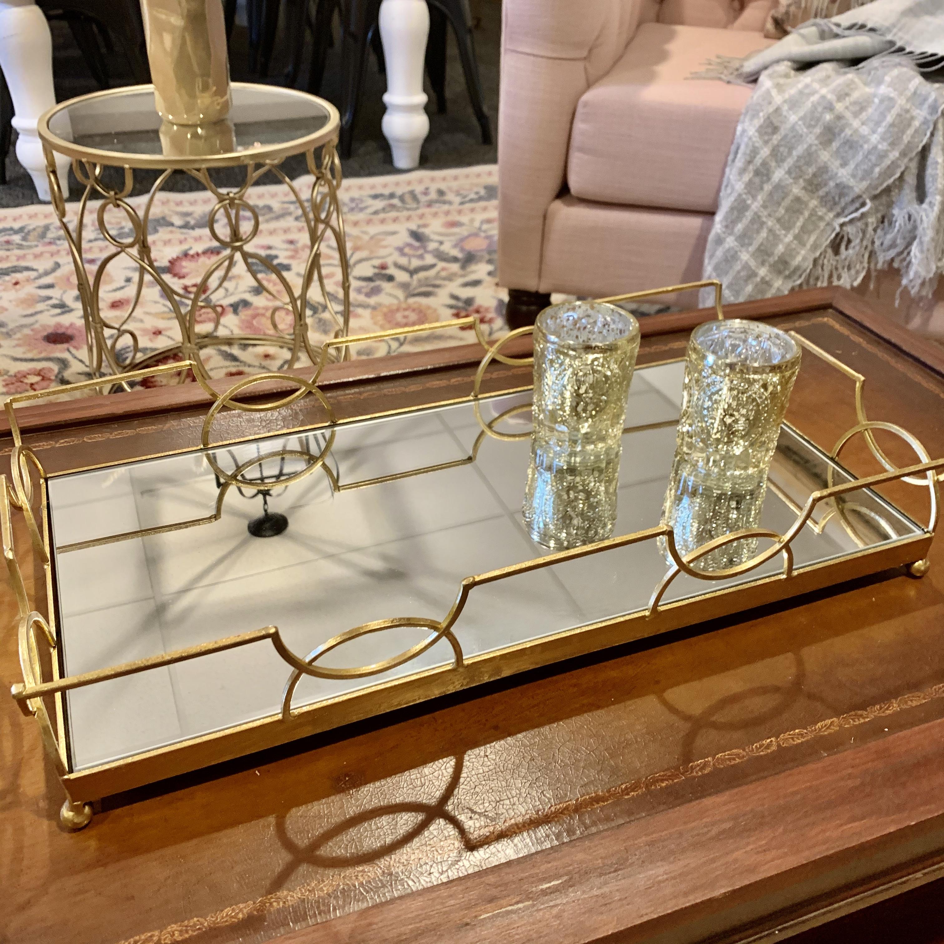 Gold Mirror Bar Tray