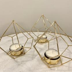 Gold Geometric Tea Light Holders