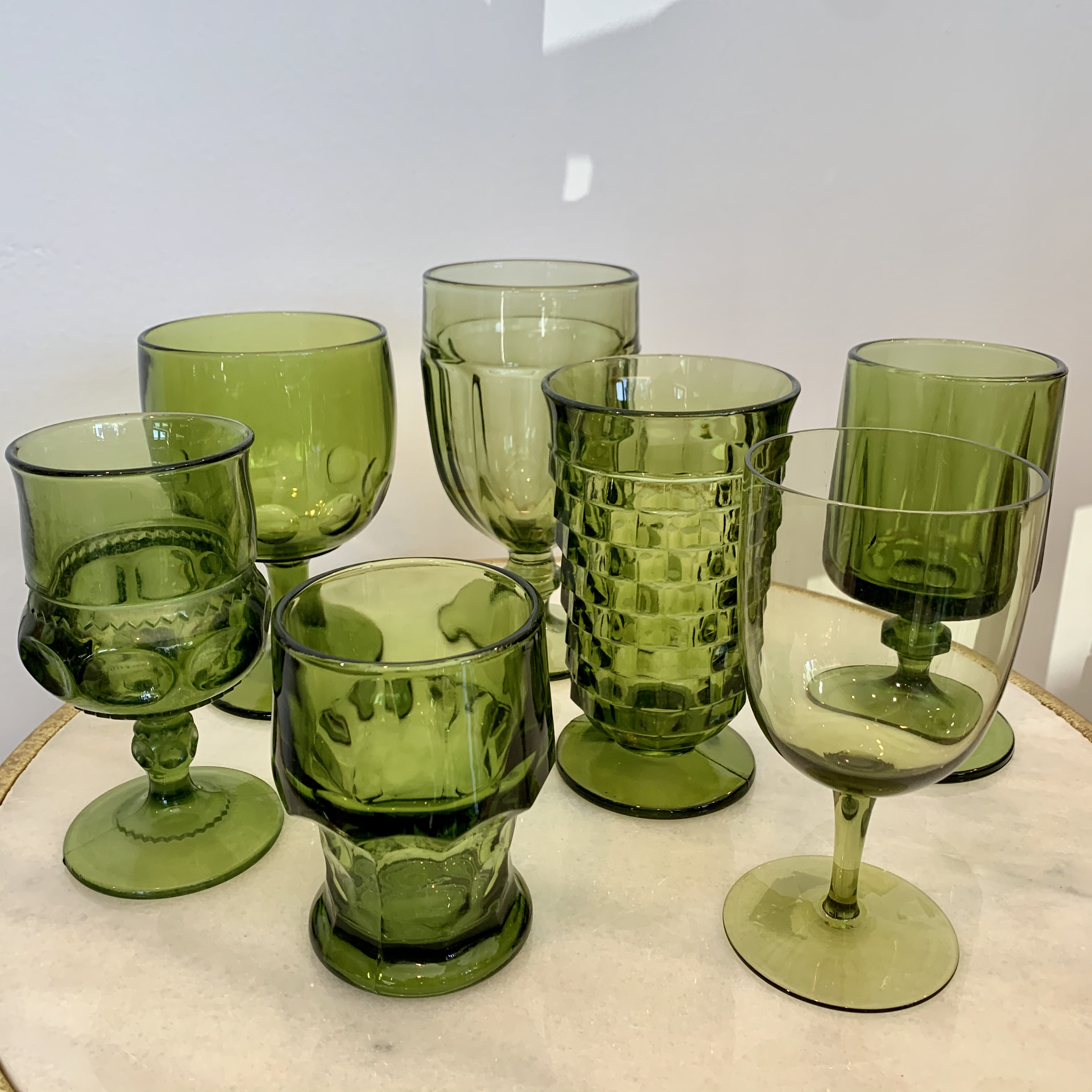Assorted Olive Green Glasses