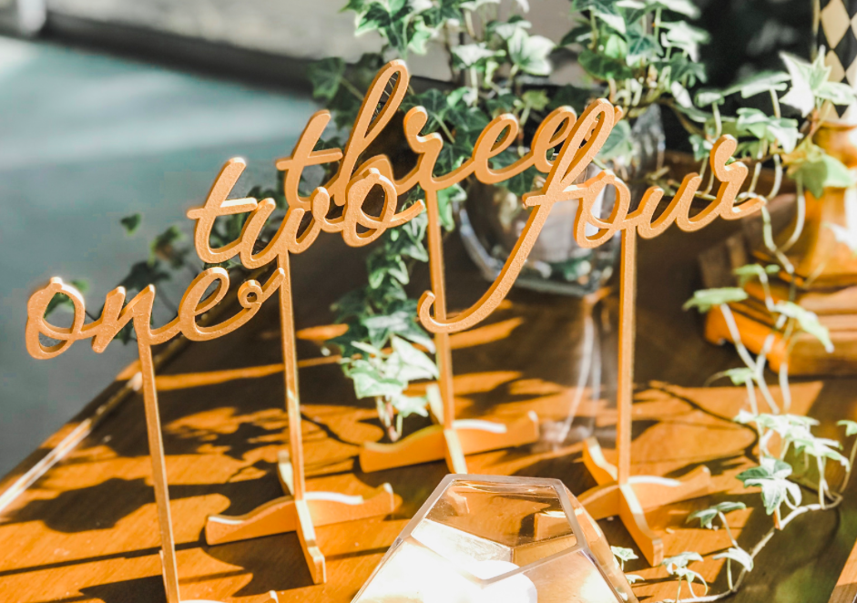 Gold Table Numbers Design 1