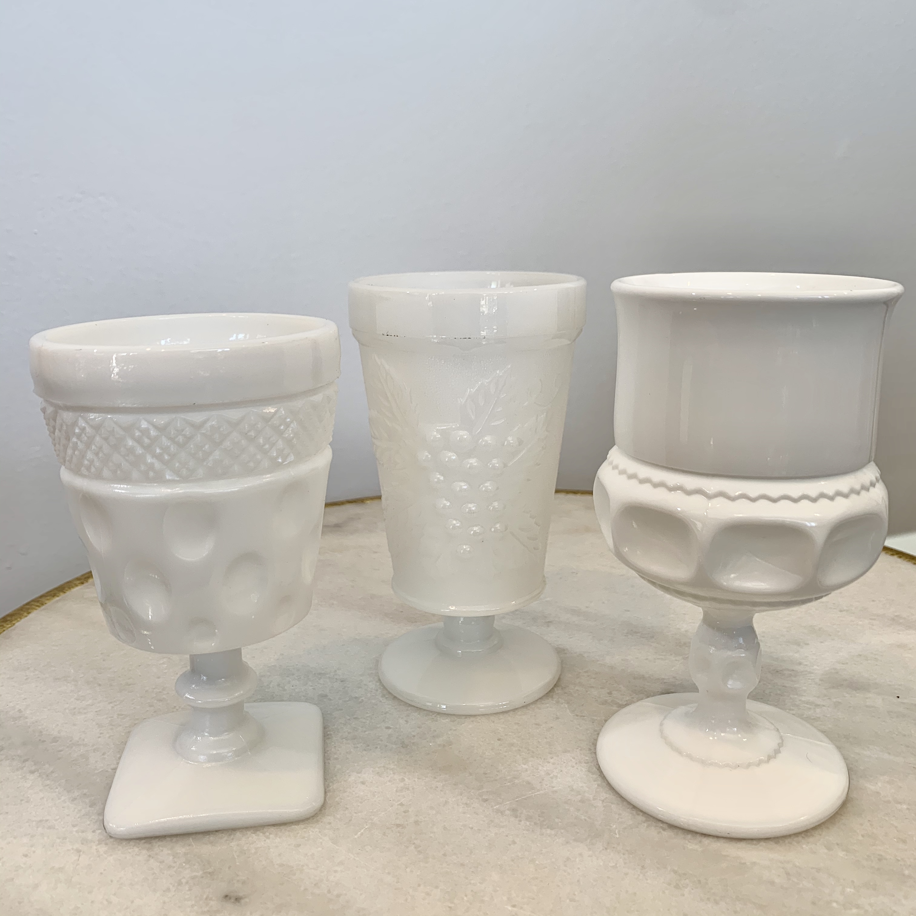 Assorted White Milk Glasses