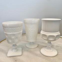 Assorted White Milk Glasses