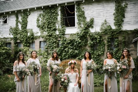 Bohemian Barn Wedding Flower Crown Bridesmaids