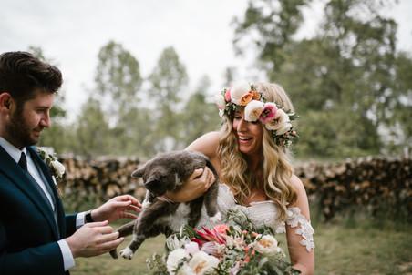Bohemian Barn Wedding Flower Crown Bride Groom