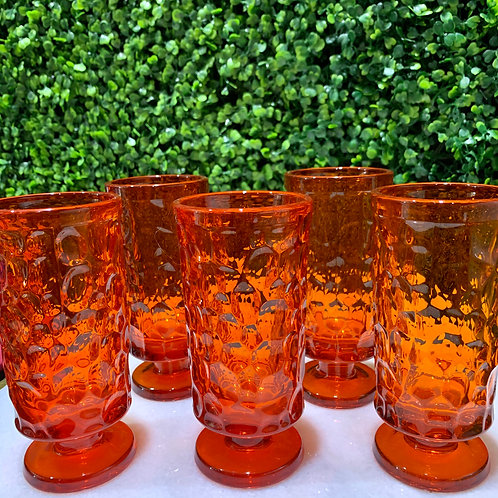 Orange Textured Glass Goblets