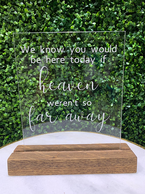 Memory Table Plexi Glass Sign