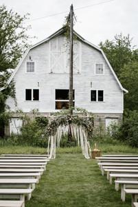 Bohemian Barn Wedding Outdoor Ceremony