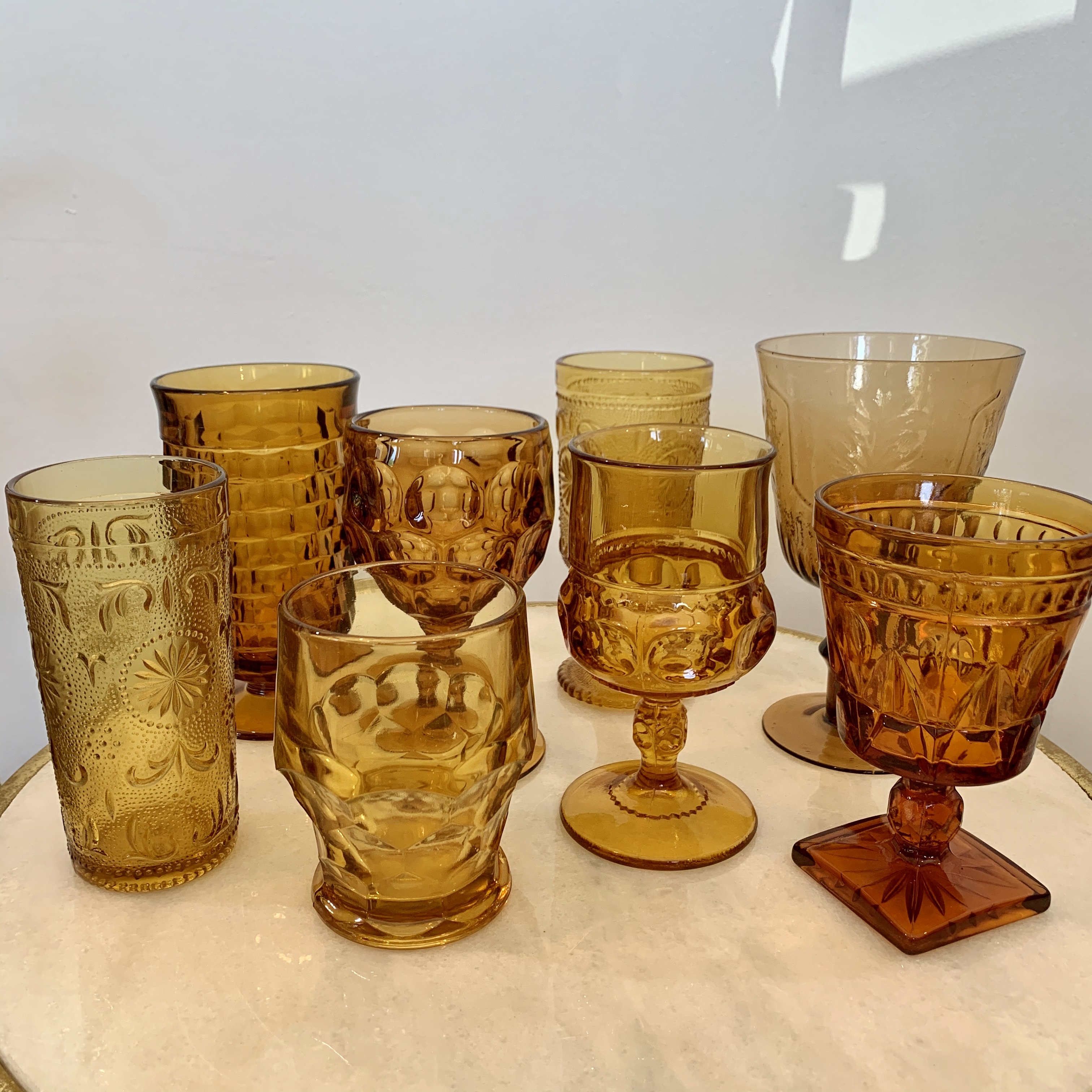 Assorted Amber Glasses