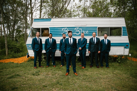 Bohemian Barn Wedding Groomsmen Bridal Party