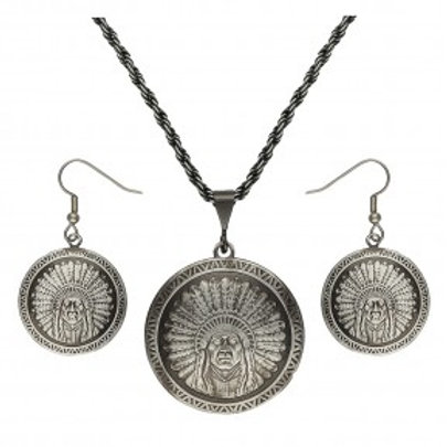Gunmetal Chief Concho Jewelry Set