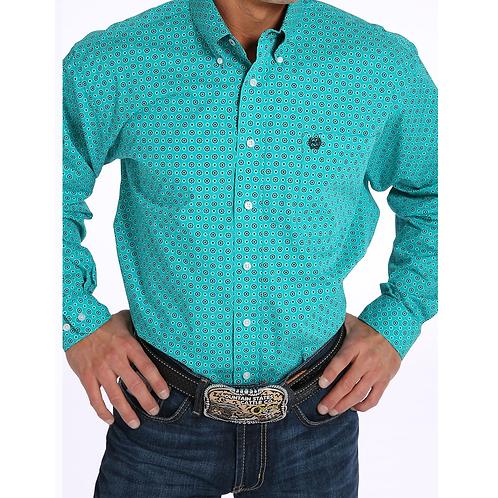Cinch Teal Print Western Shirt