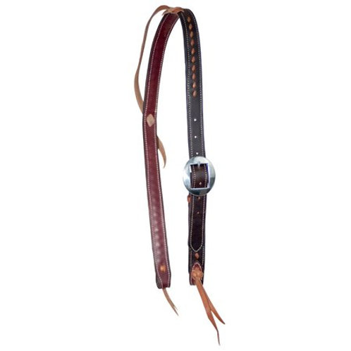Wildfire Saddlery Choc & Tan Buckstitched Knot Ear Headstall with Plain Buckle