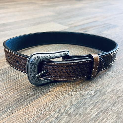 Kid's Studded Basketweave Belt - Chocolate